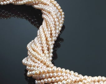 3.5 to 4mm, FreshWater Pearl, Peach Pink Pearl Beads, Natural Pearl, 1 or 6 strands, 16 inches, 115 beads, Round Pearl for Necklace
