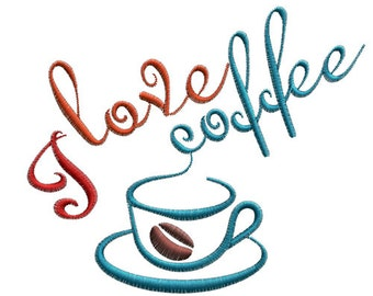 Buy 2 get 1 free,I love coffee Machine Embroidery Design-- SB1151