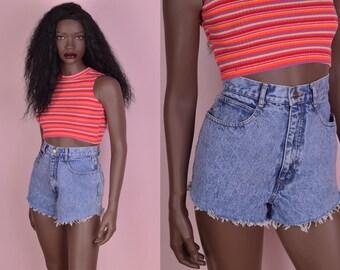 90s Blue Stone Wash High Waisted Denim Cutoff Shorts/ 26 Waist/ 1990s