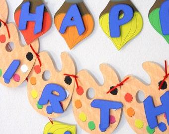 Art Birthday Party BANNER. Painting Birthday Banner - Custom Message