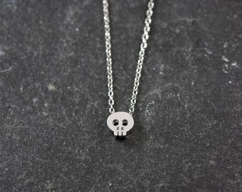 Dainty Necklace, Tiny Silver Skull, Delicate Fine Chain, Simple Necklace, Contemporary Minimalist Jewellery