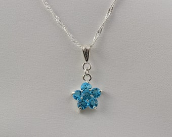 Blue Flower Necklace - Aquamarine Pendant - Light Blue Crystal Necklace - Blue Topaz Jewelry Floral - Sky Blue Necklace Flower Girl N1230