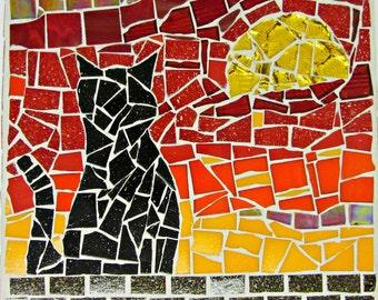 Handmade Silhouette Cat Orange-Red Sunrise Mosaic