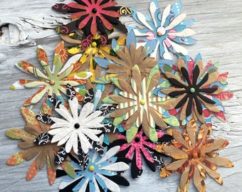 Layered Paper flowers - paper flower embellishments set of 4 triple layer 3 inch diameter random assortment
