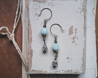 Beaded Dangle Earrings, Long Earrings Made from Vintage Aqua, Gold, and Crystal Beads, Victorian Style Jewelry for Women