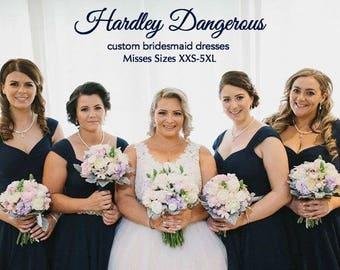 SaleN Navy Blue BRIDESMAID Dress, The Cheri Swing Dress, Hardley Dangerous, 1950s Rockabilly Mod Bridesmaid Wedding, You Choose the Fabric!