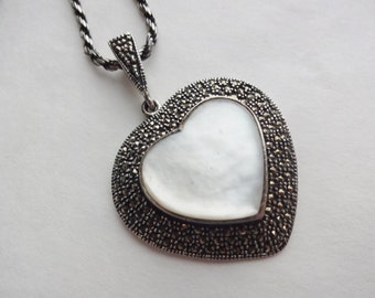 Sterling Silver & Marcasite Heart Pendant on Long Chain