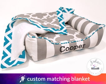 Turquoise & Gray Custom Blanket - Your Choice of Fabrics and ultra soft inside minky cuddle