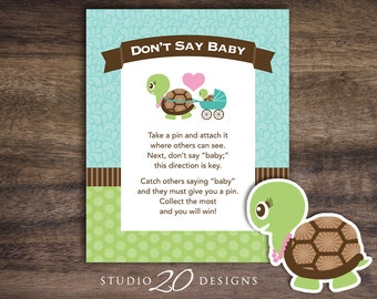 Instant Download Turtle Don't Say Baby Sign, 8x10 Aqua and Green Shower Icebreaker Pin Game, Baby Shower Don't Say Baby Game 56A
