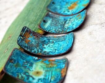 Athena ancienne patine cuivre charmes Rectangles - 4 pièces LIVRAISON GRATUITE