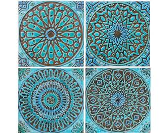 Moroccan decor, Set of 4 Moroccan tiles, Moroccan wall art, Outdoor wall art, Moroccan tile, Ceramic tile,Moroccan garden art,Turquoise 30cm