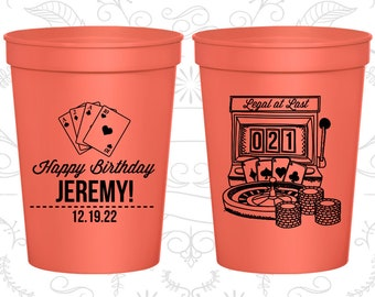 21st Birthday Party Cups, Personalized Birthday Favor Cups, Vegas Birthday Cups, Legal at Last (20063)