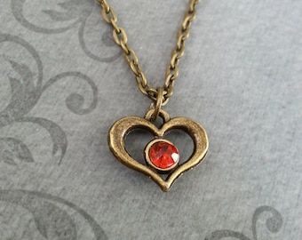 Heart Necklace, SMALL Heart Pendant Necklace, Red Heart Necklace, Red Gem Necklace, Valentine's Necklace Valentine's Jewelry Girlfriend Gift
