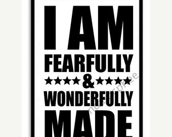 FEARFULLY & WONDERFULLY MADE - Lrg 11x17 Print, Christian Wall Art, Religious print, Bible, Scripture Print,