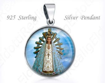Our Lady of Lujan Sterling Silver Pendant. Catholic 925 Silver Virgin Mary Medal Round 20mm