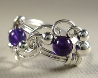 Amethyst Ring Wire Wrapped Sterling Silver Mardi Gras