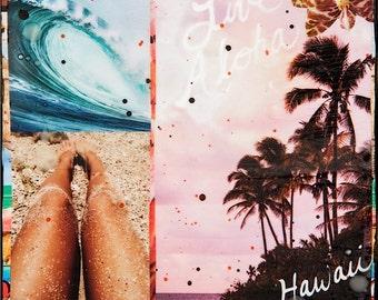 LIVE ALOHA, HAWAII, 4x4 and Up, Glassed, Hand Painted, re-collaged, wood panel, Hawaii, Beach, tropical, Wave, Beach, Palm Trees, wall art