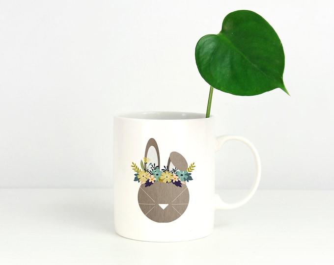 Bunny Mug, Spring Hare Mug, Rabbit Mug, Black and White Bunny, Christmas Mug, Christmas Bunny