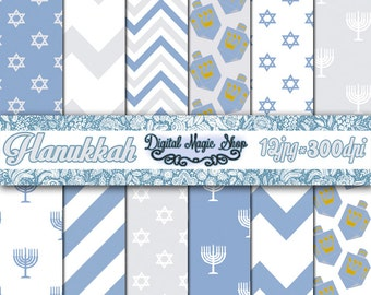 Hanukkah Digital Paper -12 pcs 300 dpi - for Scrapbooking, Cards, Invites, Photographers, Crafts - Commercial Use