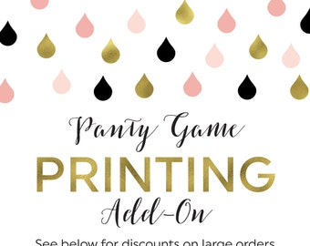 Printing Add-On for any Panty Game Cards and Display Sign in the Shower That Bride Shop