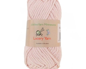 Lacery Yarn 100g - 2 Skeins - 100% Cotton - Blushed Peach - Color 104