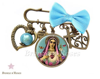 Virgin Mary gift jewelry bronze cabochon flower pin