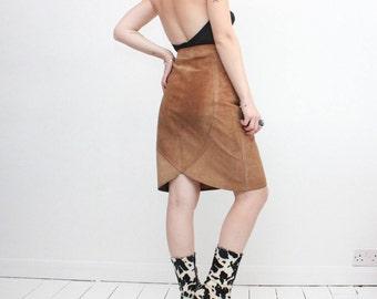 Vintage 70s Brown Suede Pencil Skirt