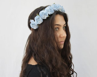 Light Blue Rose Crown, Blue Flower Crown, Blue Rose Headband, Light Blue Flower Crown, Flower Crown, Floral Crown, Festival Clothing, Boho