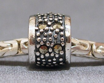 Sterling Silver Slider No. 6 Spacer European Charm Big Hole Bracelet  Bead