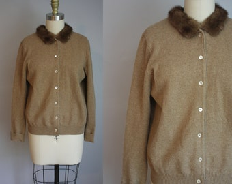 1960s Saks Fifth Avenue Cardigan // Cashmere Blend with Fur Collar // M