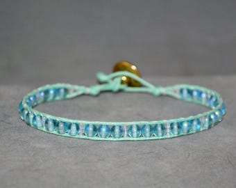 mint and ice blue beaded wrap bracelet