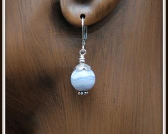 Blue Lace Agate Earrings, Blue Agate Dangles, Blue and Silver Earrings, Agate Dangle Earrings, Blue Agate Earrings