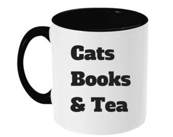 Cats Books & Tea - Two Toned Mug