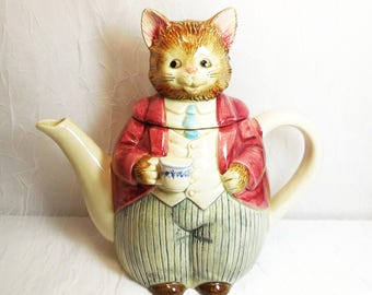 Vintage Otagiri Japan, Mr Whiskers Cat Teapot, Anthropomorphic Cat