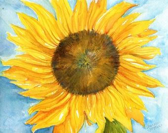 Sunflower watercolor painting original, 8 x 10,  original watercolor painting of sunflower, flower painting, sunflower decor SharonFosterArt