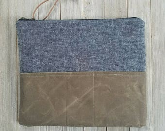 iPad sleeve, tablet sleeve, notebook sleeve, iPad case, waxed canvas, black and olive