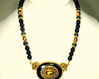 Medieval Black w Gold Bib Necklace, 1980s Filigree Royalty Oval Pendant on Black Bead Chain, Elegant
