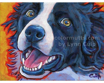 BORDER COLLIE Dog Art Original Painting on Canvas 8x6 Lynn Culp
