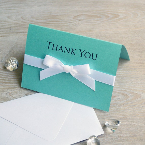 BOW Thank You Cards - Aqua & White - Custom Thank You Notes - Blank Inside - Wedding - Bridal Shower - Many Colors Available