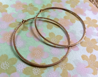 """Gold Hammered Hoops 1.5"""" Classic Gold Texture Hoops 14kt Gold Fill Hoop Earrings Artisan Hoops Wire Jewelry"""