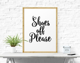 Typography Poster, Shoes Off Please, Printable Art, Black And  White, Typography Art Print, Home Decor
