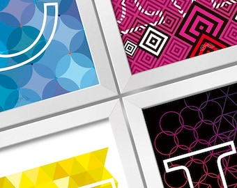CMYK 4 frames set Digital print Design art