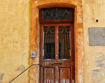 Fine Art Photography, old wooden door, yellow, ochre, terracotta, Arles, France, 8x12