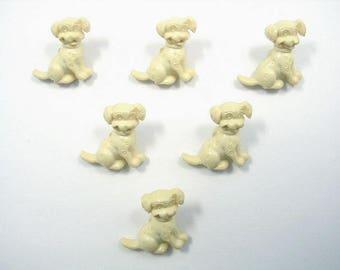 LOT 6 buttons: 16mm cream Dalmatian dog