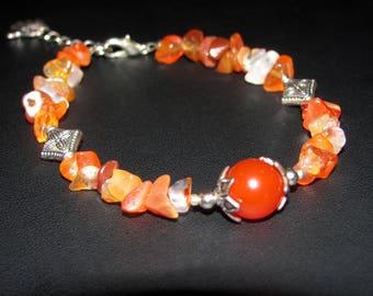 Bracelet genuine carnelian gemstones and stars