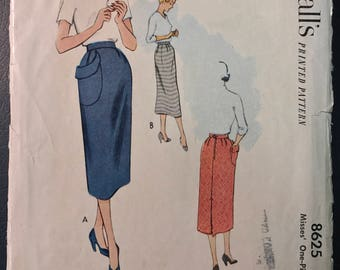 McCall's Pattern # 8625 - 1950's Misses' Skirt w/ Hip Pocket - Column Skirt, Big Pouch Pocket - Waist 24""