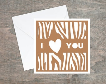 Wood grain paper cut card, I love you card, Card for husband, Card for carpenter, Papercut card, Card for boyfriend, Wood card