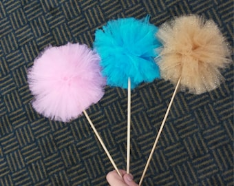 Pom-Pom Wands and Centerpieces-Set of 6! (Choose your colors!!)