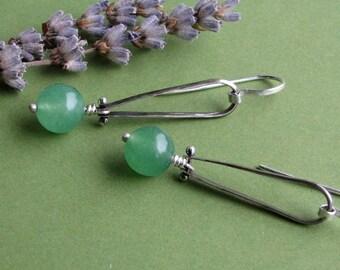 Valerie Green: Sterling Silver Oxidized Riveted Dangling Green Aventurine Long Loop Earrings