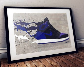 Air Jordan 1 (Royals) / Nike / Trainer / Sneaker Wall Art Print / Poster Original Design A3, A2, A1, A0